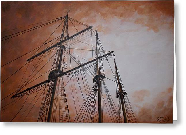 Ships Masts Greeting Card by Julie Cranfill