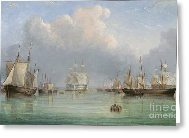 Ships Off Ryde Greeting Card by Arthur Wellington Fowles