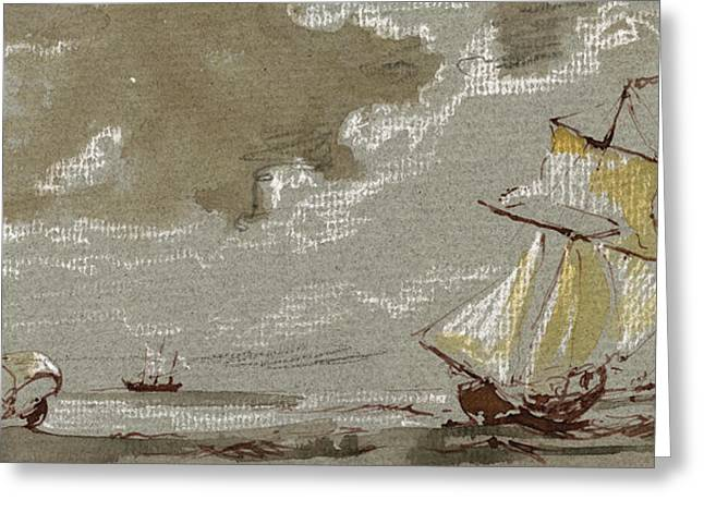Ships On Storm Greeting Card by Juan  Bosco