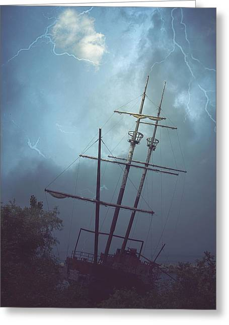 Shipwreck Greeting Card by Carrie Ann Grippo-Pike