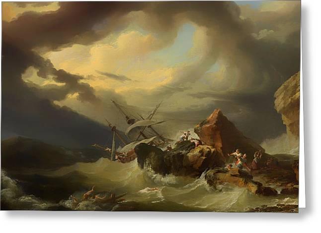 Shipwreck Off A Rocky Coast Greeting Card