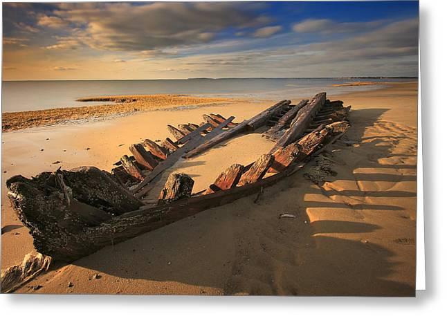 Shipwreck On Cape Cod Beach Greeting Card by Dapixara Art