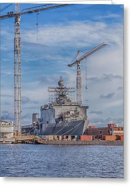 Shipyard Greeting Card by David Cote
