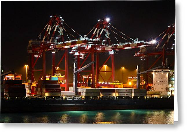 Shipyards  Callao Port Lima Peru Greeting Card by Kurt Van Wagner