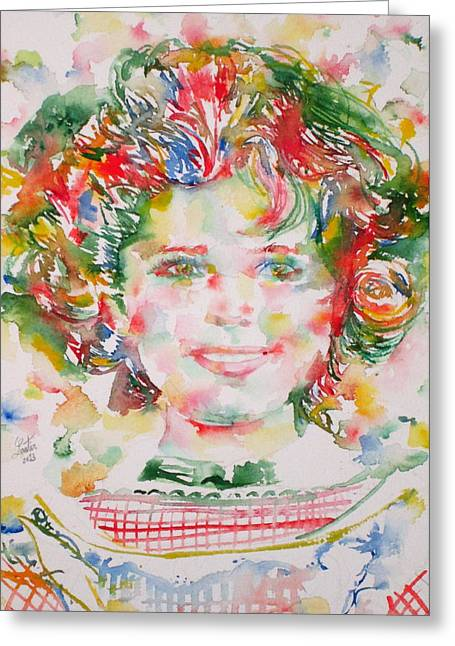 Shirley Temple - Watercolor Portrait.1 Greeting Card by Fabrizio Cassetta