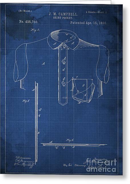 Shirt Pocket Blueprint Patent Greeting Card by Pablo Franchi