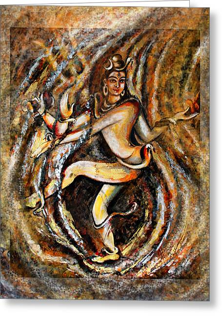 Greeting Card featuring the painting Shiva Eternal Dance by Harsh Malik