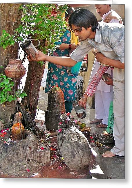 Morning Offerings At A Shiva Temple - India Greeting Card