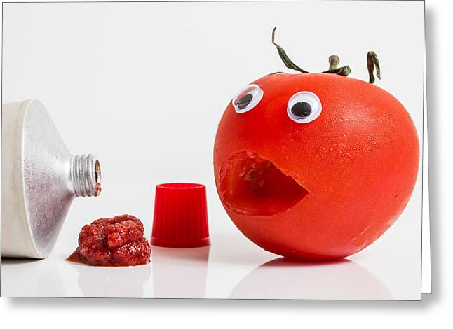Shocked Tomato. Greeting Card by Gary Gillette