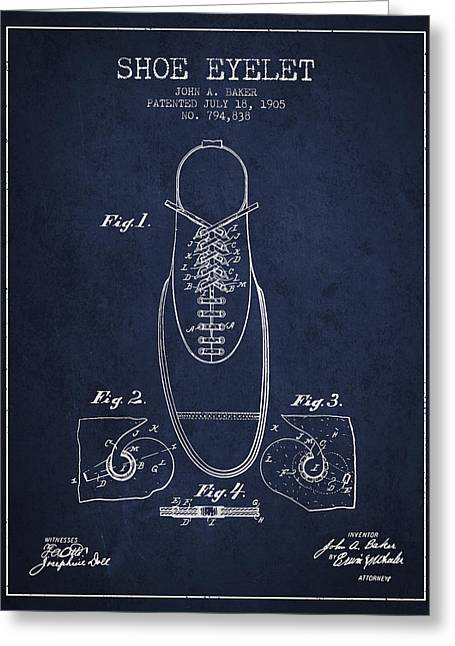 Shoe Eyelet Patent From 1905 - Navy Blue Greeting Card by Aged Pixel