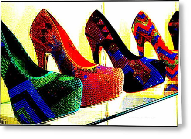 Shoe Paparazzi  Greeting Card by Kathy Barney