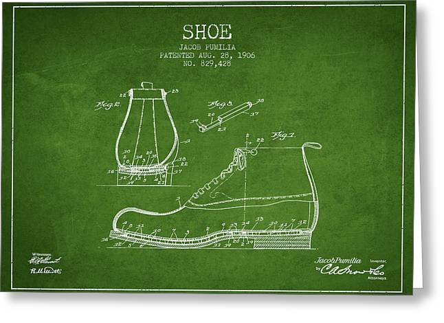 Shoe Patent From 1906 - Green Greeting Card