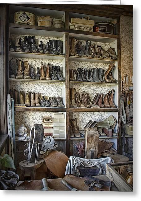 Shoe Repair Shop In 1880 Town Greeting Card