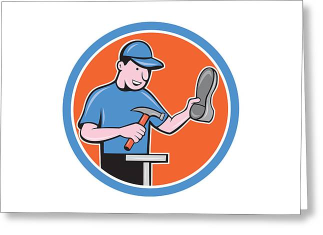 Shoemaker With Hammer Shoe Cartoon Greeting Card by Aloysius Patrimonio