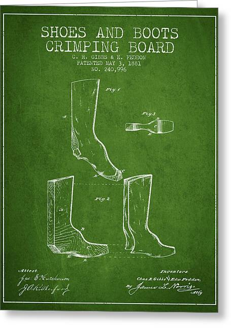 Shoes And Boots Crimping Board Patent From 1881 - Green Greeting Card by Aged Pixel