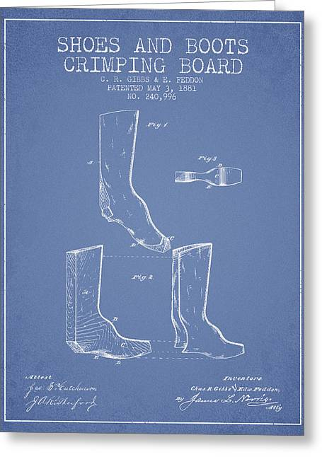 Shoes And Boots Crimping Board Patent From 1881 - Light Blue Greeting Card by Aged Pixel