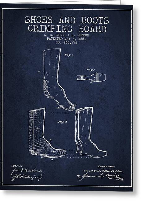 Shoes And Boots Crimping Board Patent From 1881 - Navy Blue Greeting Card by Aged Pixel