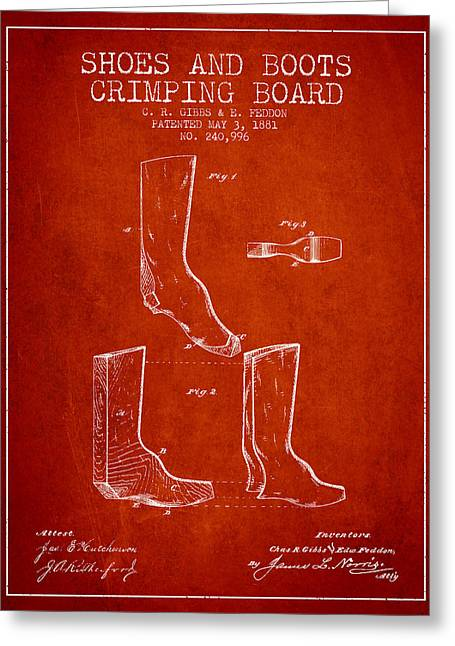 Shoes And Boots Crimping Board Patent From 1881 - Red Greeting Card by Aged Pixel