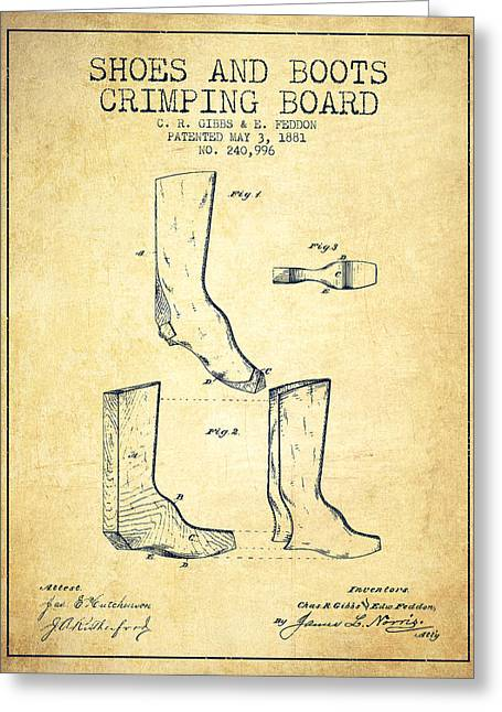 Shoes And Boots Crimping Board Patent From 1881 - Vintage Greeting Card by Aged Pixel