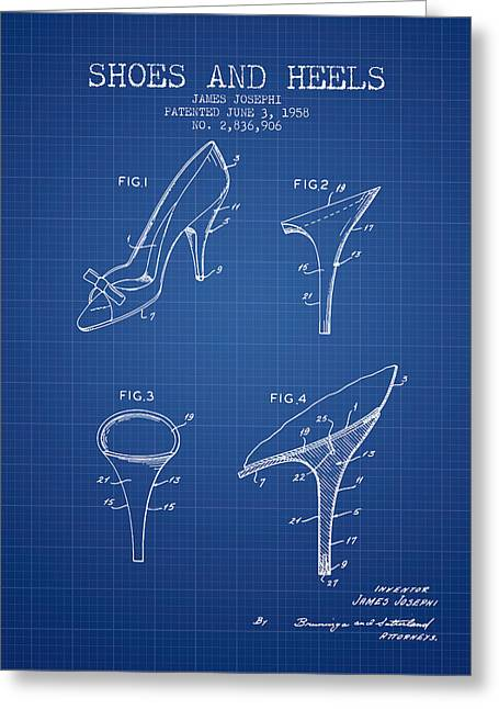 Shoes And Heels Patent From 1958 - Blueprint Greeting Card