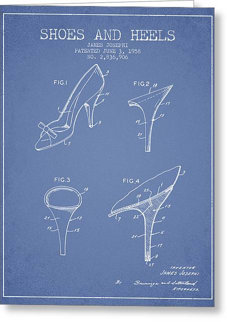 Shoes And Heels Patent From 1958 - Light Blue Greeting Card by Aged Pixel