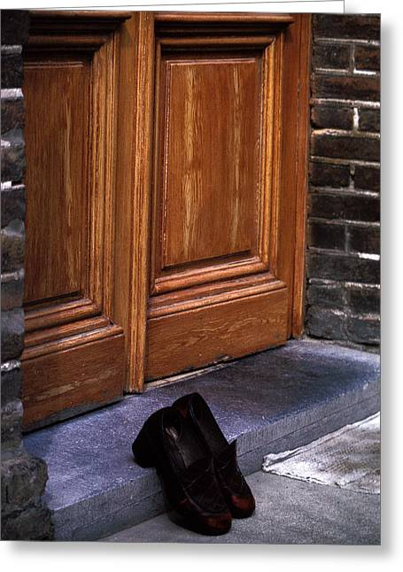 Shoes At Door Greeting Card by Mark Goebel