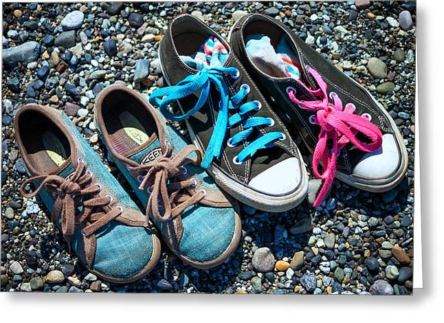 Shoes On Beach Greeting Card by Geoffrey Baker