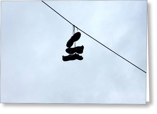 Greeting Card featuring the photograph Shoes On The Line by Marc Philippe Joly