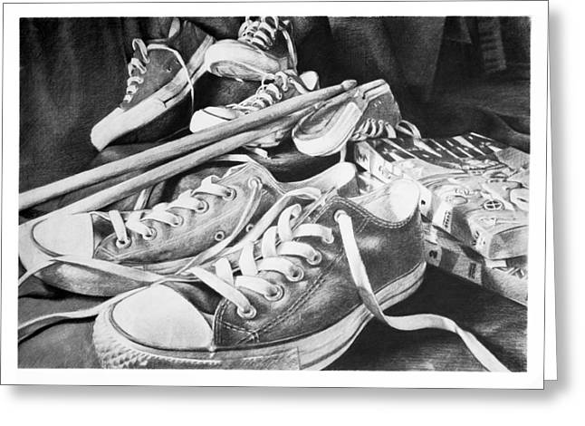 Shoes Sticks And Comics Greeting Card by L Fox