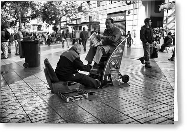 Shoeshine In Santiago Mono Greeting Card