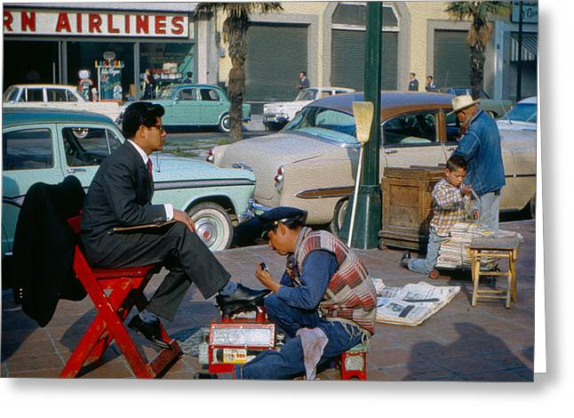 Shoeshine Man Greeting Card by Michael Hope