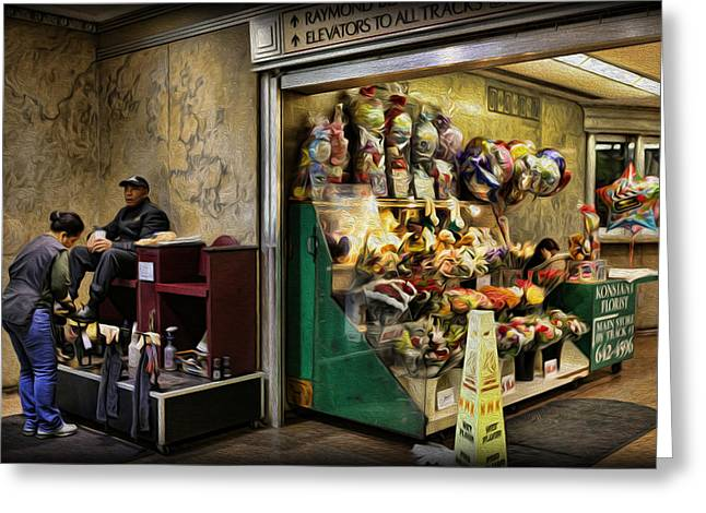 Shoeshine On A Sunday Greeting Card by Lee Dos Santos
