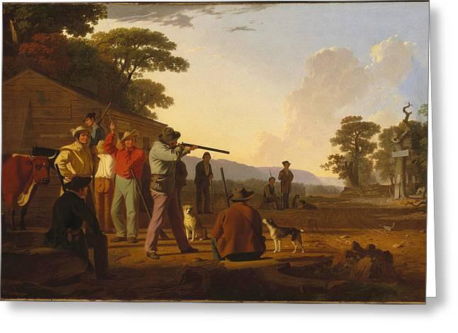 Shooting For The Beef Greeting Card by George Caleb Bingham