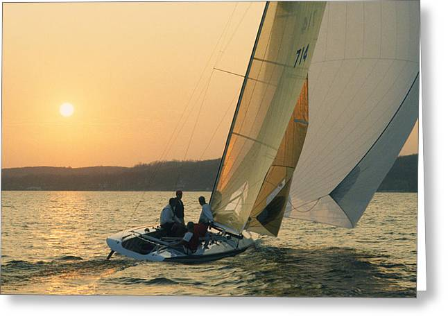 Shooting The Breeze - Lake Geneva Wisconsin Greeting Card by Bruce Thompson