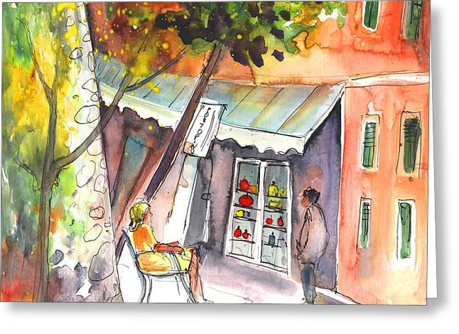 Shop Owner In Portofino In Italy Greeting Card by Miki De Goodaboom
