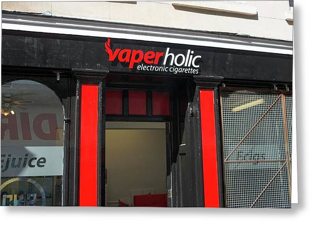 Shop Selling Electronic Cigarettes Greeting Card by Robert Brook