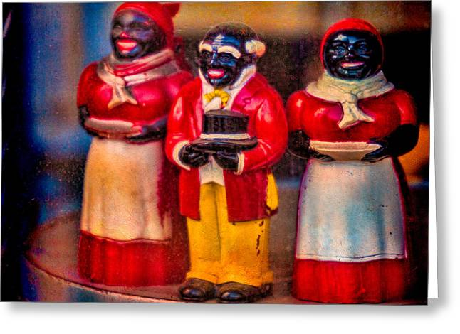Greeting Card featuring the photograph Shop Window Trio by Chris Lord