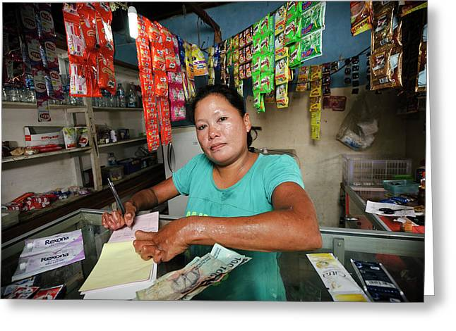 Shopkeeper With Leprosy Greeting Card by Matthew Oldfield