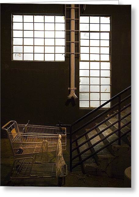 Shopping Cart Greeting Cards - Shopping Cart Stairs at Window Greeting Card by Peter Tellone