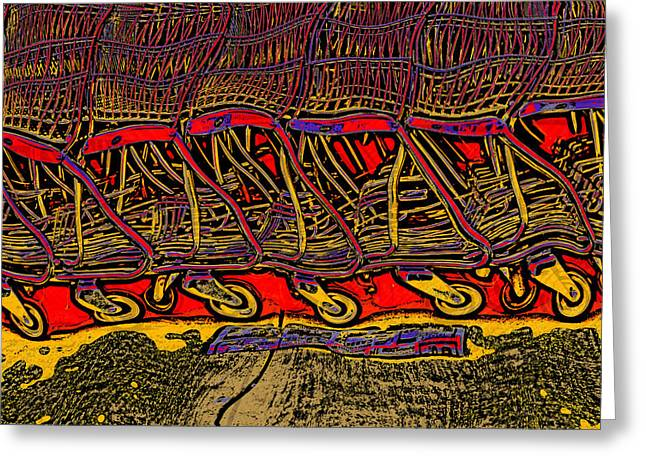 Greeting Card featuring the digital art Shopping Carts by Richard Farrington