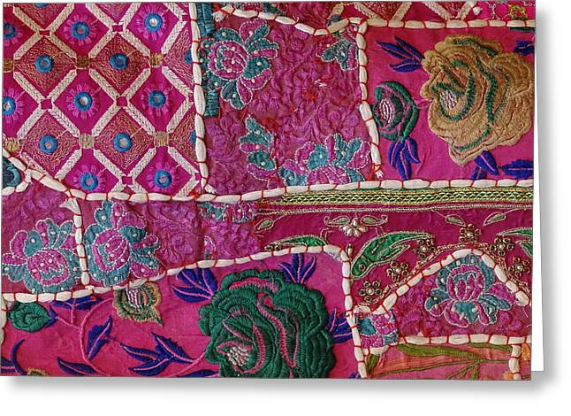 Shopping Colorful Tapestry Sale India Rajasthan Jaipur Greeting Card by Sue Jacobi
