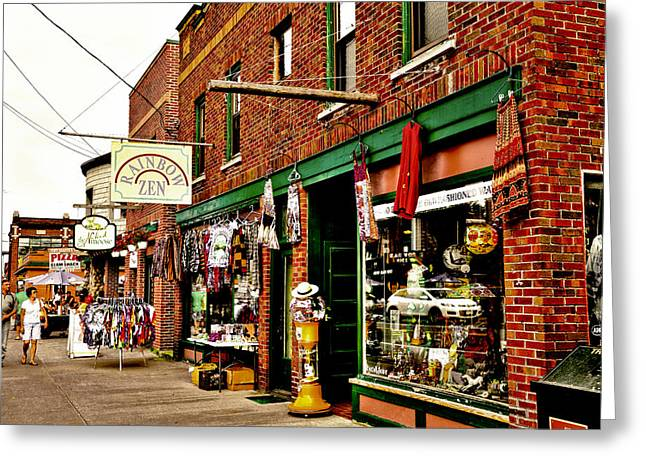 Shopping Downtown Old Forge - New York Greeting Card by David Patterson