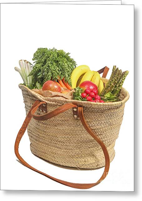 Shopping For Orrganic Fruit And Vegetables  Greeting Card by Patricia Hofmeester