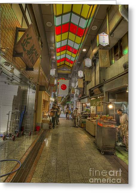 Shopping In Kyoto Greeting Card by David Bearden