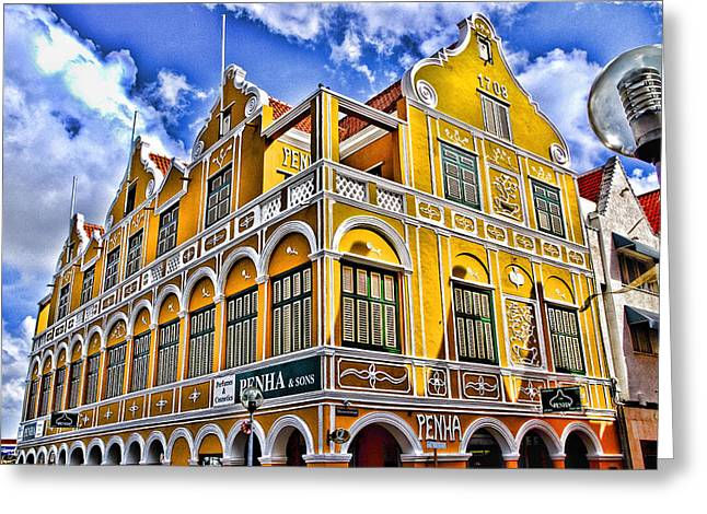 Shopping In Willemstad Curacao Greeting Card by Jon Berghoff