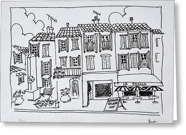 Shopping Street In The Medieval Village Greeting Card