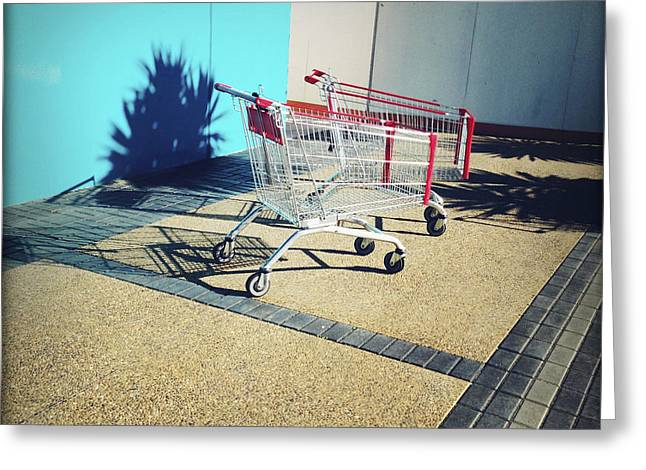 Shopping Trolleys  Greeting Card by Les Cunliffe