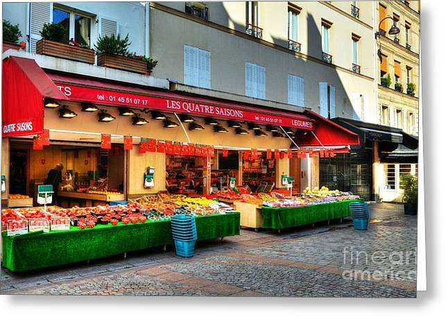 Shops On Rue Cler Greeting Card by Mel Steinhauer