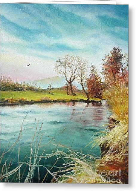Greeting Card featuring the painting Shore Of The River by Sorin Apostolescu