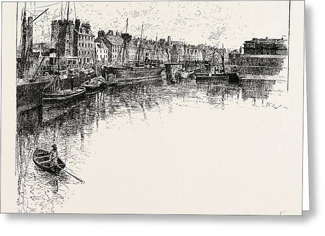 Shore Street, Leith,  Lies On The South Shore Of The Firth Greeting Card by English School